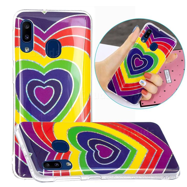 Rainbow Heart Painted Galvanized Electroplating Soft Phone Case Cover for Samsung Galaxy A20e