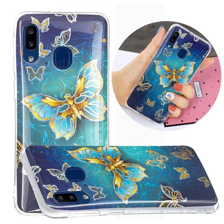 Golden Butterfly Painted Galvanized Electroplating Soft Phone Case Cover for Samsung Galaxy A20e