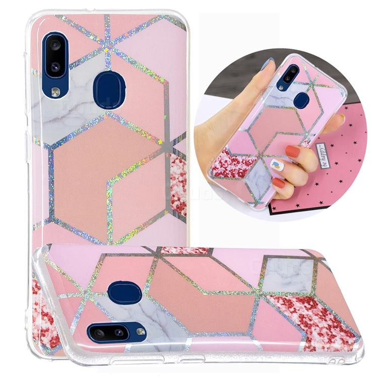 Pink Marble Painted Galvanized Electroplating Soft Phone Case Cover for Samsung Galaxy A20e