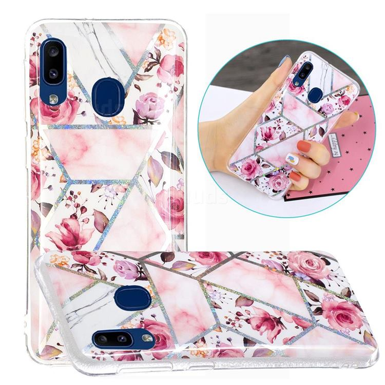 Rose Flower Painted Galvanized Electroplating Soft Phone Case Cover for Samsung Galaxy A20e