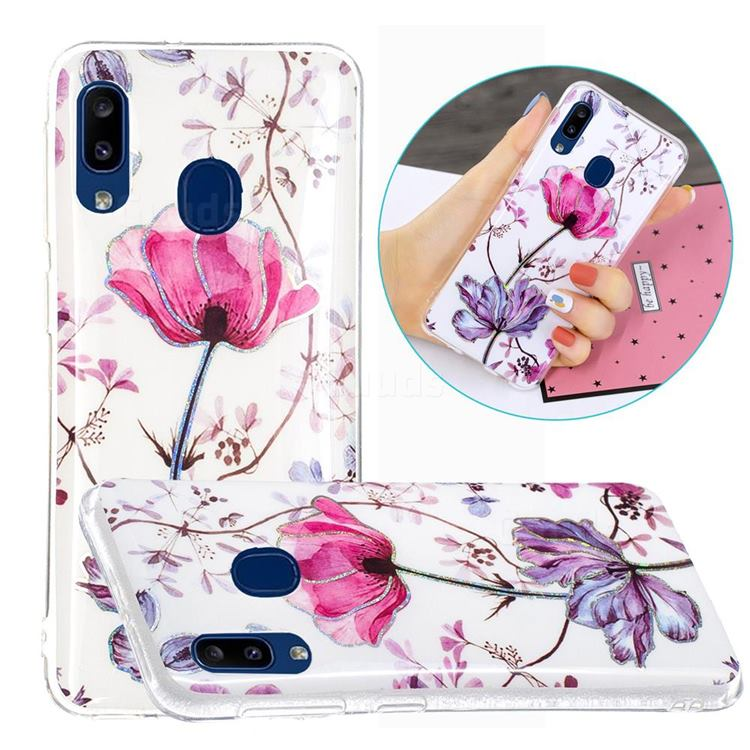 Magnolia Painted Galvanized Electroplating Soft Phone Case Cover for Samsung Galaxy A20e