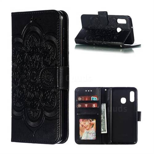 Intricate Embossing Datura Solar Leather Wallet Case for Samsung Galaxy A20e - Black