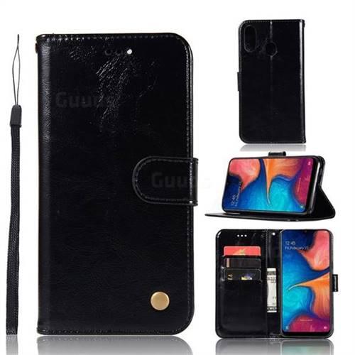 Luxury Retro Leather Wallet Case for Samsung Galaxy A20e - Black