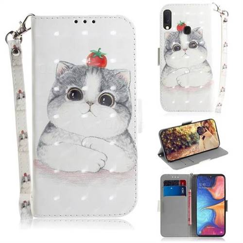 Cute Tomato Cat 3D Painted Leather Wallet Phone Case for Samsung Galaxy A20e