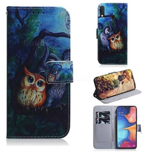 Oil Painting Owl PU Leather Wallet Case for Samsung Galaxy A20e