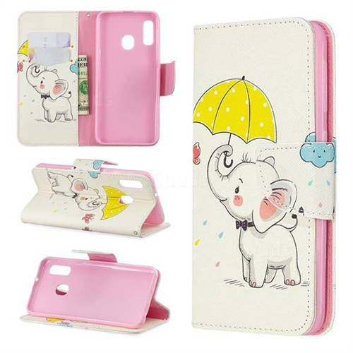 Umbrella Elephant Leather Wallet Case for Samsung Galaxy A20e
