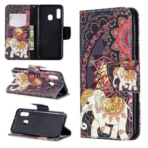 Totem Flower Elephant Leather Wallet Case for Samsung Galaxy A20e