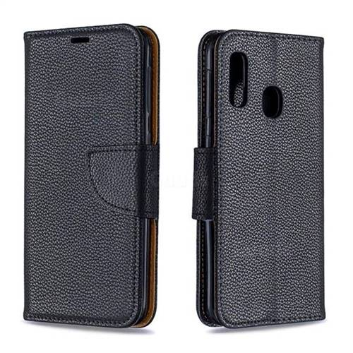 Classic Luxury Litchi Leather Phone Wallet Case for Samsung Galaxy A20e - Black