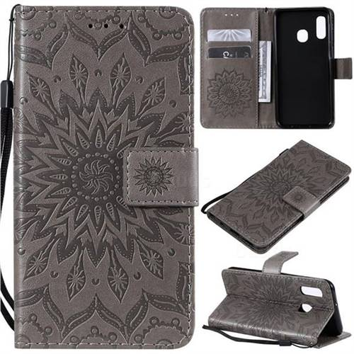 Embossing Sunflower Leather Wallet Case for Samsung Galaxy A20e - Gray