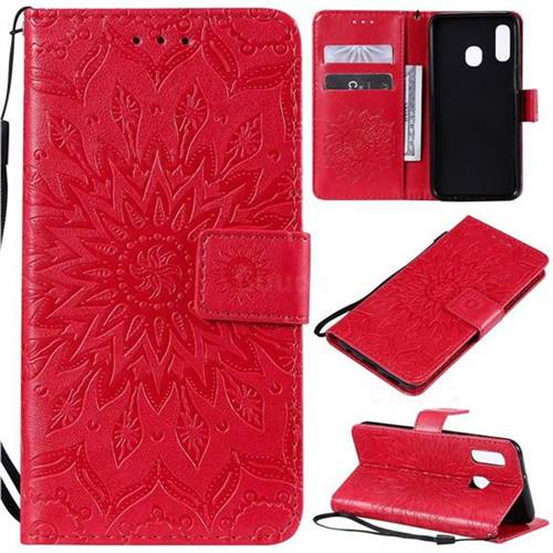 Embossing Sunflower Leather Wallet Case for Samsung Galaxy A20e - Red