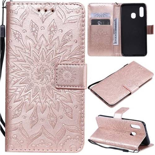 Embossing Sunflower Leather Wallet Case for Samsung Galaxy A20e - Rose Gold