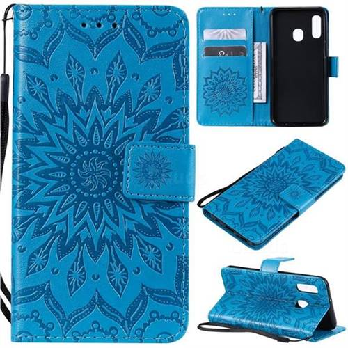 Embossing Sunflower Leather Wallet Case for Samsung Galaxy A20e - Blue