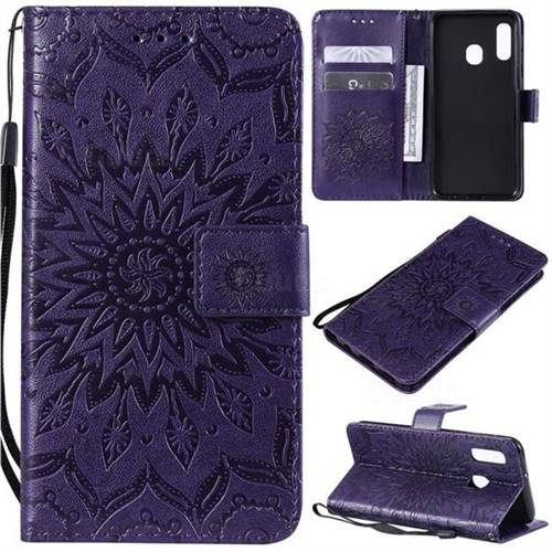 Embossing Sunflower Leather Wallet Case for Samsung Galaxy A20e - Purple