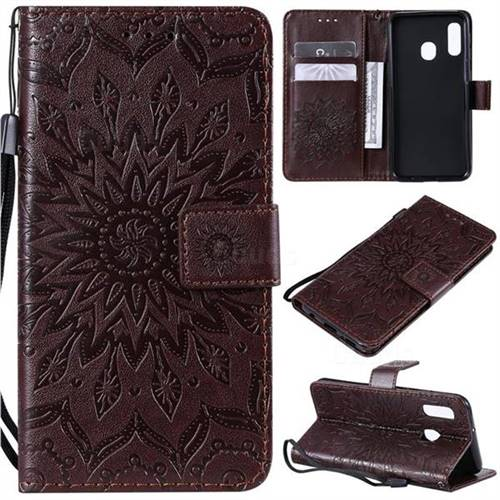 Embossing Sunflower Leather Wallet Case for Samsung Galaxy A20e - Brown