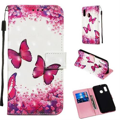 Rose Butterfly 3D Painted Leather Wallet Case for Samsung Galaxy A20e