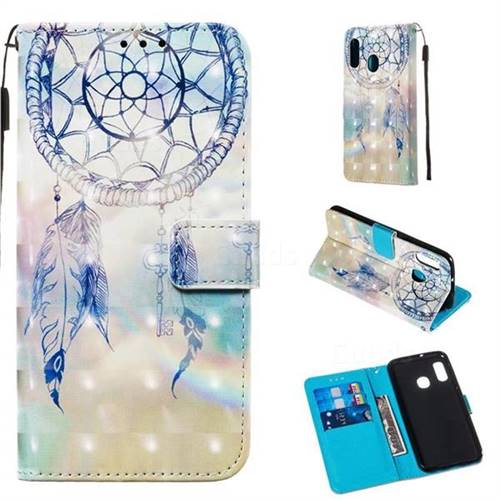 Fantasy Campanula 3D Painted Leather Wallet Case for Samsung Galaxy A20e