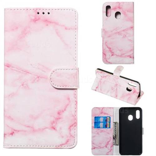 Pink Marble PU Leather Wallet Case for Samsung Galaxy A20e