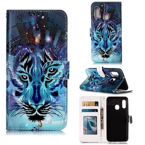 Ice Wolf 3D Relief Oil PU Leather Wallet Case for Samsung Galaxy A20e
