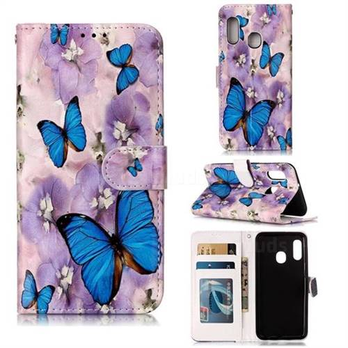 Purple Flowers Butterfly 3D Relief Oil PU Leather Wallet Case for Samsung Galaxy A20e