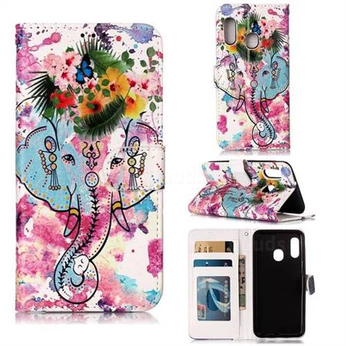 Flower Elephant 3D Relief Oil PU Leather Wallet Case for Samsung Galaxy A20e