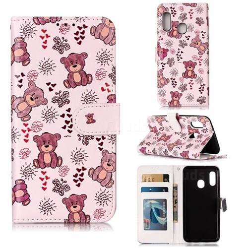 Cute Bear 3D Relief Oil PU Leather Wallet Case for Samsung Galaxy A20e