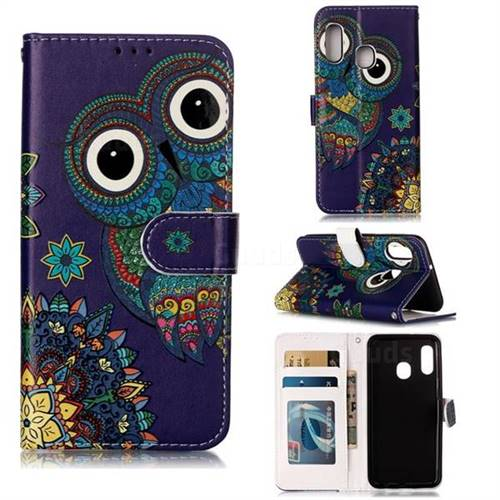 Folk Owl 3D Relief Oil PU Leather Wallet Case for Samsung Galaxy A20e