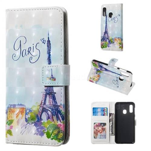 Paris Tower 3D Painted Leather Phone Wallet Case for Samsung Galaxy A20e