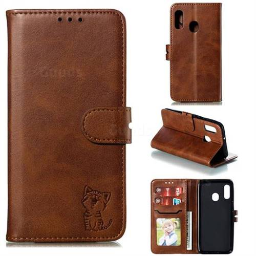 Embossing Happy Cat Leather Wallet Case for Samsung Galaxy A20e - Brown