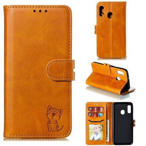 Embossing Happy Cat Leather Wallet Case for Samsung Galaxy A20e - Yellow