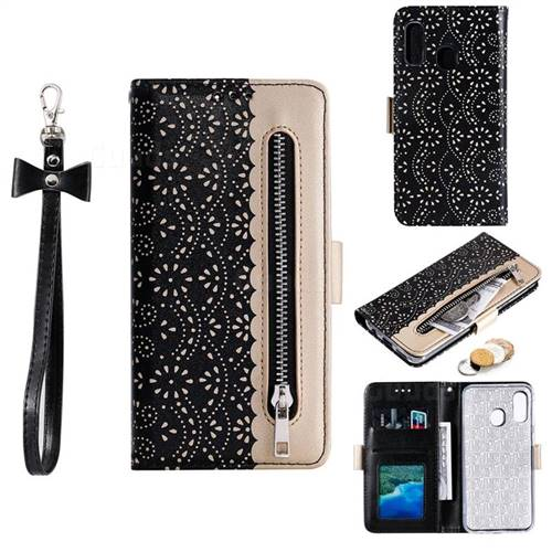 Luxury Lace Zipper Stitching Leather Phone Wallet Case for Samsung Galaxy A20e - Black