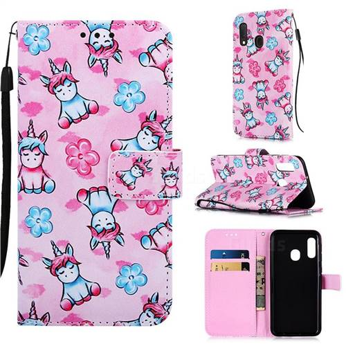 Unicorn and Flowers Matte Leather Wallet Phone Case for Samsung Galaxy A20e