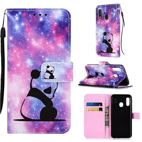 Panda Baby Matte Leather Wallet Phone Case for Samsung Galaxy A20e