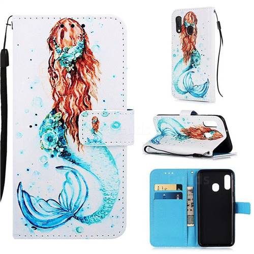 Mermaid Matte Leather Wallet Phone Case for Samsung Galaxy A20e