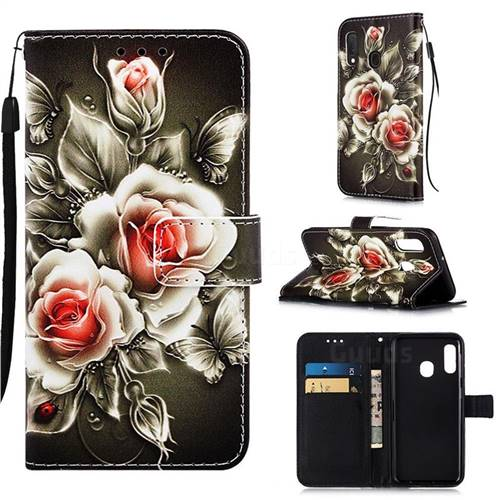Black Rose Matte Leather Wallet Phone Case for Samsung Galaxy A20e