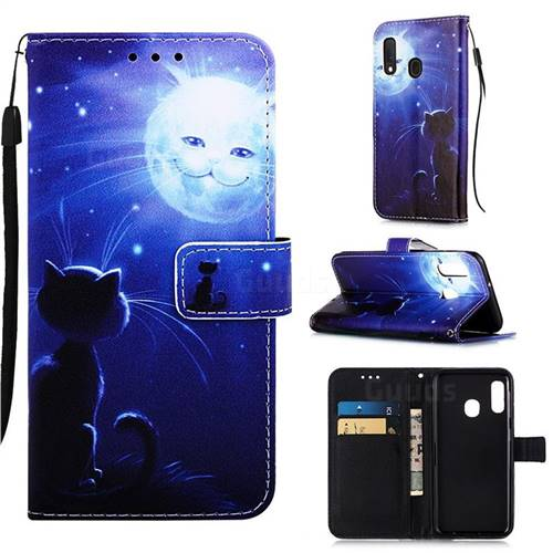 Cat and Moon Matte Leather Wallet Phone Case for Samsung Galaxy A20e