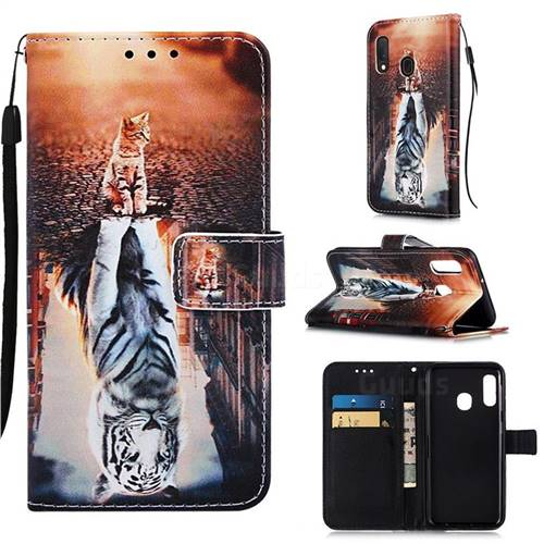 Cat and Tiger Matte Leather Wallet Phone Case for Samsung Galaxy A20e