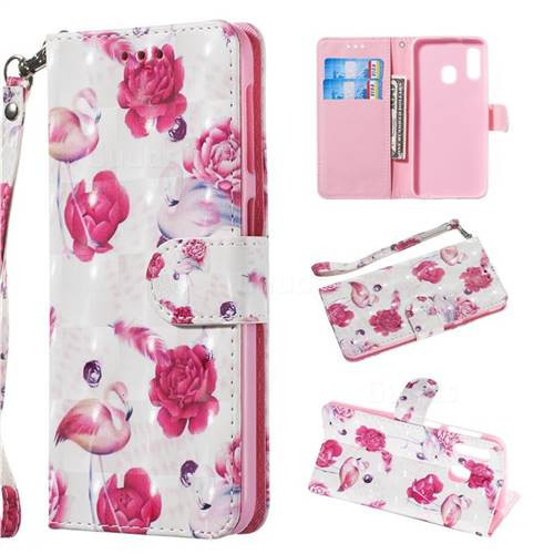 Flamingo 3D Painted Leather Wallet Phone Case for Samsung Galaxy A20e