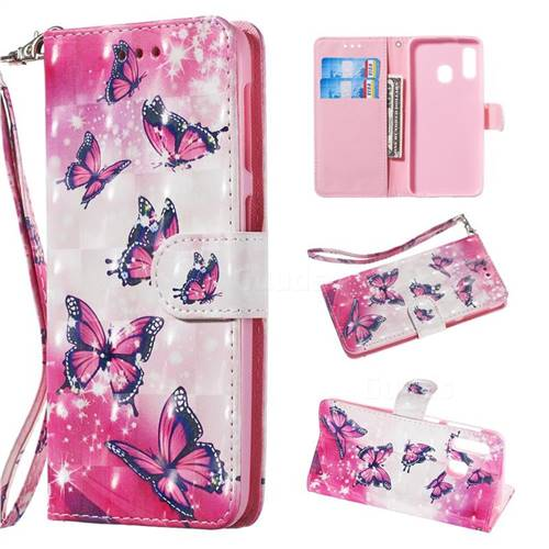 Pink Butterfly 3D Painted Leather Wallet Phone Case for Samsung Galaxy A20e