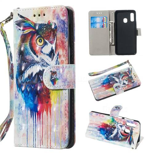 Watercolor Owl 3D Painted Leather Wallet Phone Case for Samsung Galaxy A20e