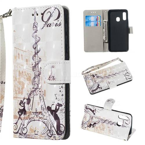 Tower Couple 3D Painted Leather Wallet Phone Case for Samsung Galaxy A20e