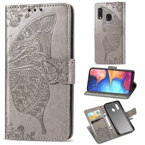 Embossing Mandala Flower Butterfly Leather Wallet Case for Samsung Galaxy A20e - Gray