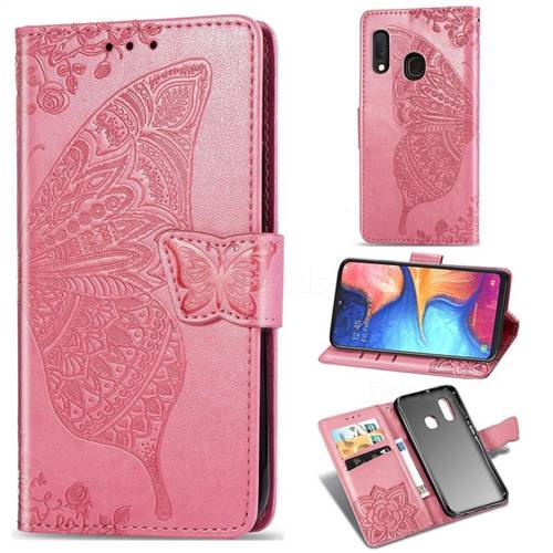 Embossing Mandala Flower Butterfly Leather Wallet Case for Samsung Galaxy A20e - Pink