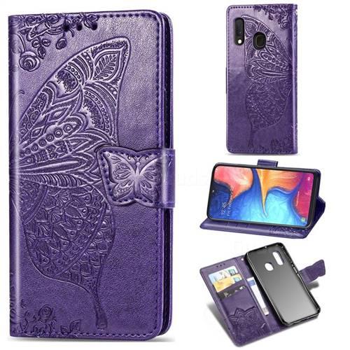 Embossing Mandala Flower Butterfly Leather Wallet Case for Samsung Galaxy A20e - Dark Purple