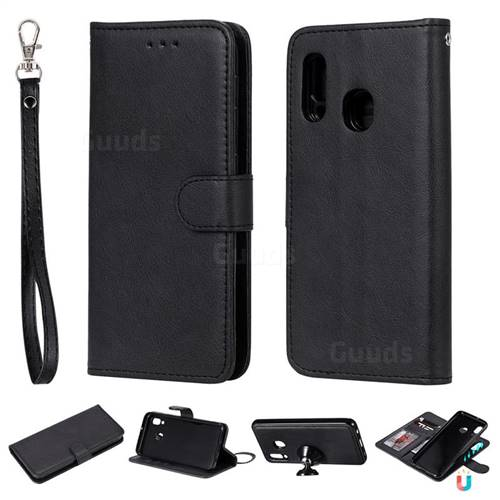 Retro Greek Detachable Magnetic PU Leather Wallet Phone Case for Samsung Galaxy A20e - Black