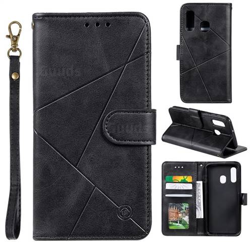 Embossing Geometric Leather Wallet Case for Samsung Galaxy A20e - Black
