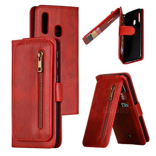 Multifunction 9 Cards Leather Zipper Wallet Phone Case for Samsung Galaxy A20e - Red