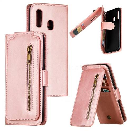 Multifunction 9 Cards Leather Zipper Wallet Phone Case for Samsung Galaxy A20e - Rose Gold