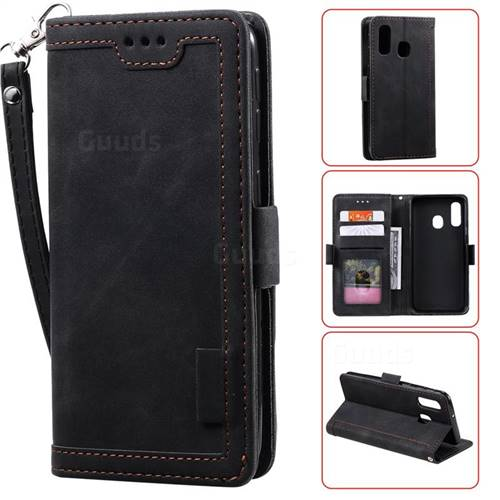 Luxury Retro Stitching Leather Wallet Phone Case for Samsung Galaxy A20e - Black