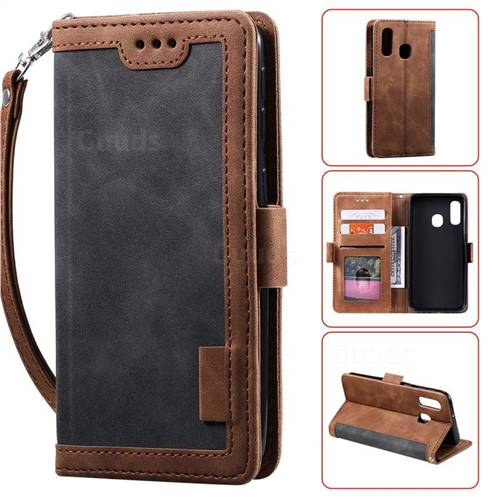 Luxury Retro Stitching Leather Wallet Phone Case for Samsung Galaxy A20e - Gray