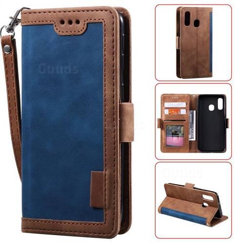 Luxury Retro Stitching Leather Wallet Phone Case for Samsung Galaxy A20e - Dark Blue
